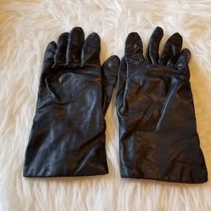 Aris Black Leather Gloves Cashmere Lined